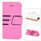 Protective Lines Style PU Leather Case w/ Card Slot for IPHONE 5 / 5s - Light Pink + Black