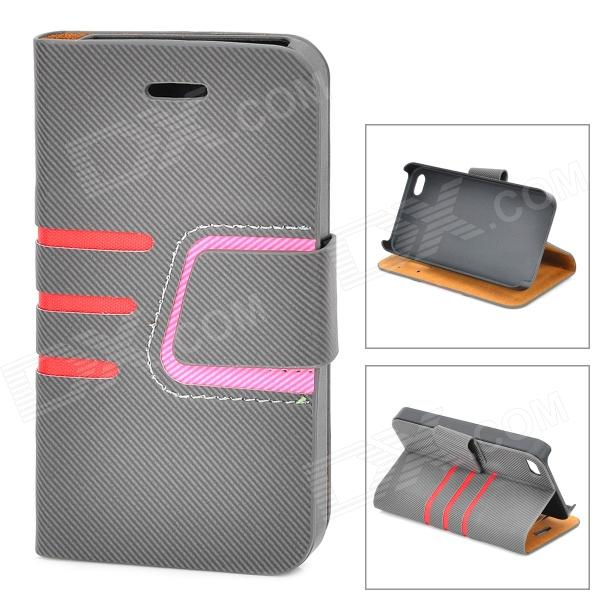 Protective Lines Style PU Leather Case w/ Card Slot for IPHONE 4 / 4S - Black + Pink silk style protective pu leather plastic case for iphone 4 4s deep pink