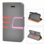 Protective Lines Style PU Leather Case w/ Card Slot for IPHONE 4 / 4S - Black + Pink
