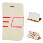 Protective Twilled PU Leather Case w/ Card Slot for IPHONE 4 / 4S - White + Pink