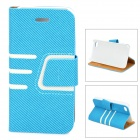 Protective Lines Style PU Leather Case w/ Card Slot for IPHONE 4 / 4S - White + Blue