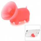 Cute Pig Style Silicone Desktop Mobile Phone Stand Holder - Red