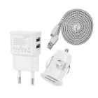 2M-3A USB to Micro USB Charging/Data Flat Cable + Dual USB Car Charger + Dual USB AC EU-Plug Charger