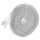Universal USB to Micro USB Flat Data Transmission + Charging Sync Flat Cable - White (300cm)