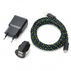 2M-3A Micro USB Data Charging Cable + Dual-USB Car Charger / EU Plug Charger Adapters Set - Black