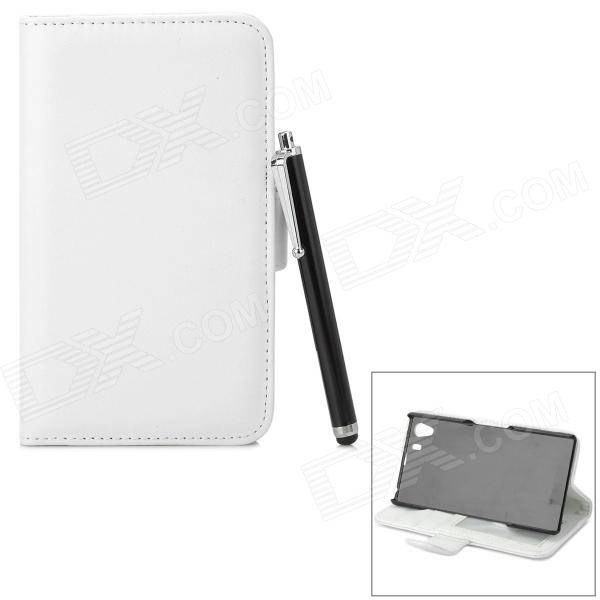 Protective PU Leather Case w/ Stylus Pen for Sony Xperia Z1 / Xperia i1 L39h - White + Black