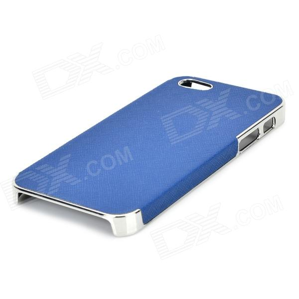 Zz001 stylish pu coated pc back case for iphone 5 / 5s - purple + silver