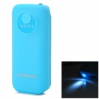 """5600mAh"" Li-polymer Battery Power Bank w/ Flashlight + USB Charging - Blue + Black"