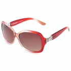OSSAT SH-800114 Fashion Retro Women's UV400 Protection Polarized Sunglasses - Transparent + Red