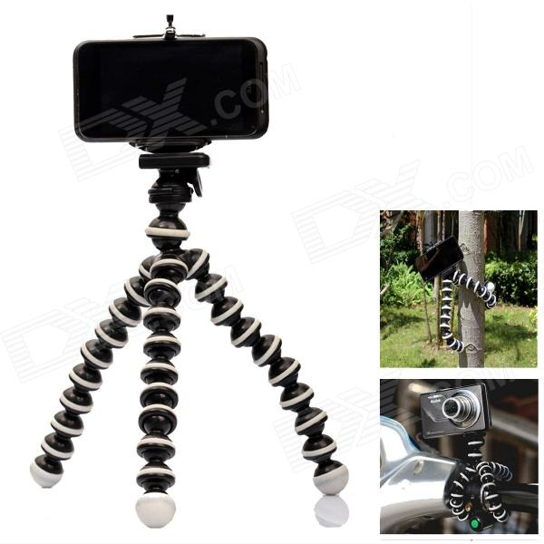 2-In-1 Multi-Function Octopus Style Tripod for Cell Phone / Camera - Black + White universal nylon cell phone holster blue black size l