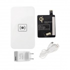 5 Qi Standard Mobile Wireless Power Charger EU Plug +i9500 Wireless Charger Receiver - White+ Black