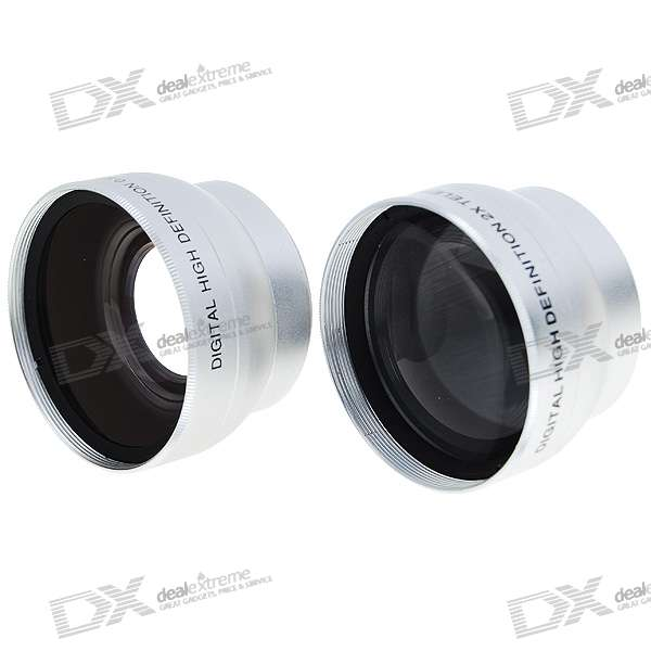 37mm 0.5X Wide Angle + 37mm 2.0X Telephoto Lens Filters with 7 Adapter Rings