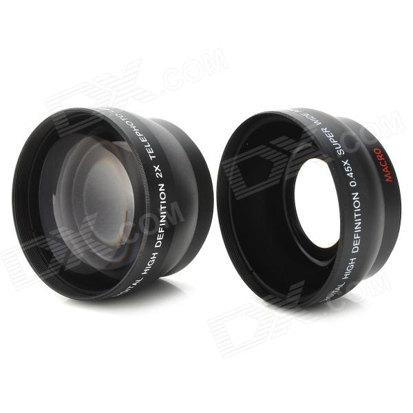 52mm 0.45X Wide Angle + 52mm 2.0X Telephoto Lens Filters with 4 Adapter Rings 37mm 0 5x wide angle 37mm 2 0x telephoto lens filters with 7 adapter rings