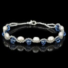 ZZSL001 Woman's Fashionable Sweet Pearl + Glass Beads Charm Bracelet - White + Blue