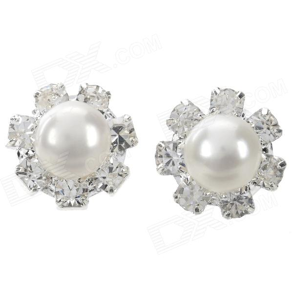 ZZED001 Woman's Elegant Shiny Crystal Inlaid Pearl Earring - White + Silver (2 PCS)