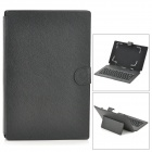 Ultra-thin USB 2.0 Keyboard w/ PU Leather Case for 10.1'' Tablet PC - Black