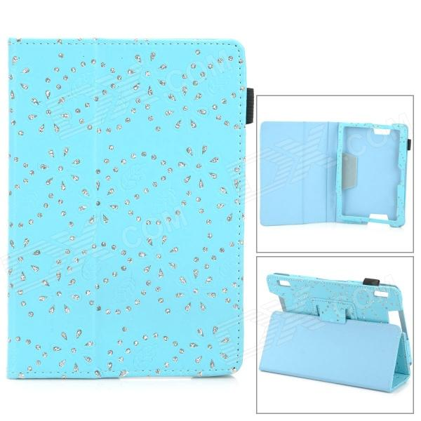 Palace Flower Pattern Protective PC Flip Open Case w/ Stand for 7'' Amazon Kindie fire HDX7 lychee pattern protective 360 degree rotation pu leather case for amazon kindle fire 7 sky blue