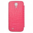 TOTALSTAR TS-05-03 Mirror Style Front Cover w/ Leather Back Case for Samsung i9500 - Deep Pink