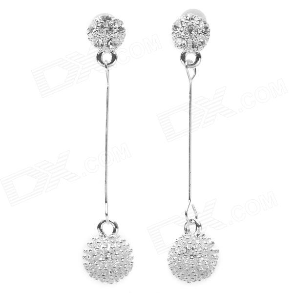 Fashionable Sea Urchins Style Pendant Shiny Rhinestone Studded Alloy Earring - Silver (Pair) ladies shiny rhinestone pendant earrings