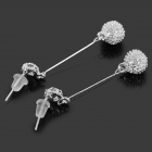Fashionable Sea Urchins Style Pendant Shiny Rhinestone Studded Alloy Earring - Silver (Pair)