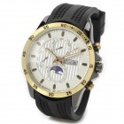 BARIHO H011 Men's Stylish Analog Quartz Wrist Watch w/ Calendar - White + Golden (1 x 626)