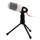 SF-666 3.5mm Wired Microphone w/ Tripod - White + Silver Grey