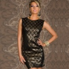 LC829966-2 Fashion Black Shining Square Bodycon Party Dress for Women (Size-L)