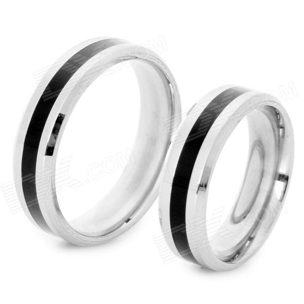 SHIYING jz017 Fashionable 316L Stainless Steel Couple's Ring - Black + Silver (2 PCS) shiying men s fashion 316l stainless steel split leather bracelet black silver