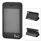 I C Protective PU Leather Case Stand w/ Touch Visual Window Cover for IPHONE 4 / 4S - Black