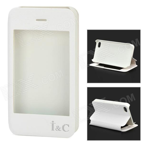 I C Protective PU Leather Case Stand w/ Touch Visual Window Cover for IPHONE 4 / 4S - White remax protective flip open pu leather case w visual window for iphone 4 4s white