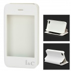 I C Protective PU Leather Case Stand w/ Touch Visual Window Cover for IPHONE 4 / 4S - White