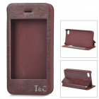 I C Protective PU Leather Case Stand w/ Touch Visual Window Cover for IPHONE 4 / 4S - Dark Brown
