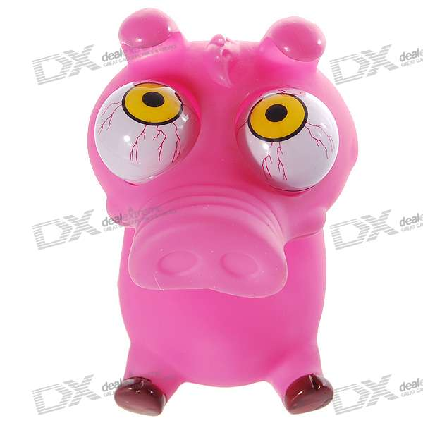 Funny Rolling  Eyeballs Pop-out Piggy Silicone Stress Reliever Toy (Purple)
