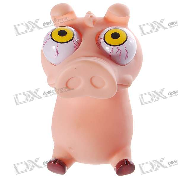Funny Rolling  Eyeballs Pop-out Piggy Silicone Stress Reliever Toy (Fleshcolor)