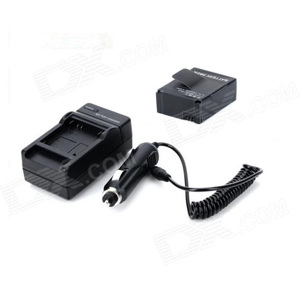 1300mAh Battery + US Plug Power Adapter + Car Charger Set for GoPro HD Hero3/3+ - Black