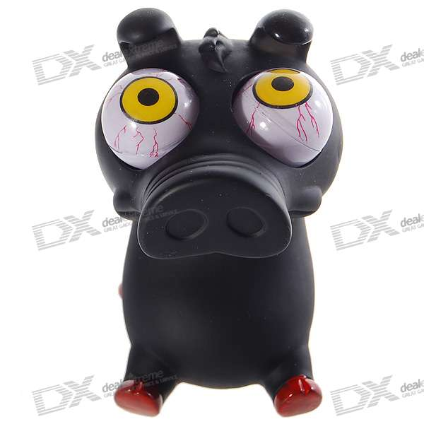 Funny Rolling  Eyeballs Pop-out Piggy Silicone Stress Reliever Toy (Black)