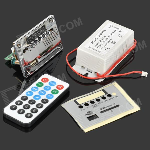 Lson 12V Bluetooth MP3 / WMA decodificador de áudio Board w / FM / SD Power Supply - Prata