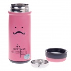 JINFENG Mustache Face Stainless Steel Thermos Cup With Filter - Pink + Black (320ml)