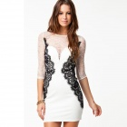 LC829896 Fashion Long Sleeve Beauty Lace Bodycon Dress for Women - White + Black (Size M)