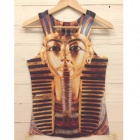 Cool 3D Egyptian Pharaoh Women Men Sleeveless T Shirt Vest - Golden (Size M)