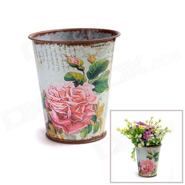 Retro Processing Iron Art Flower barrel w/ Simulation Big Rose Sticker - Bronzed + Multi-color hot sale room decoration silk simulation flower rose