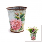 Retro Processing Iron Art Flower barrel w/ Simulation Big Rose Sticker - Bronzed + Multi-color