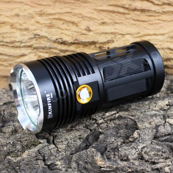 KINFIRE K60X 6-LED 3000lm 3-Mode White Flashlight - Black (4 x 18650) kinfire k40x 4 led 2000lm 3 mode white flashlight gray 4 x 18650