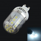 HZLED G9 4W 324LM 6000K 27-SMD 2835 LED White Light Bulb - White + Silver (AC 85-265V)
