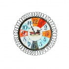 Creative Iron Art Digital Style Wall Clock - Orange + Black + Multi-color