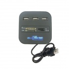 3-Port USB 2.0/1.1  Hub + MS/MS PRO DUO / SD / MMC / M2 / Micro SD Card Reader - Black