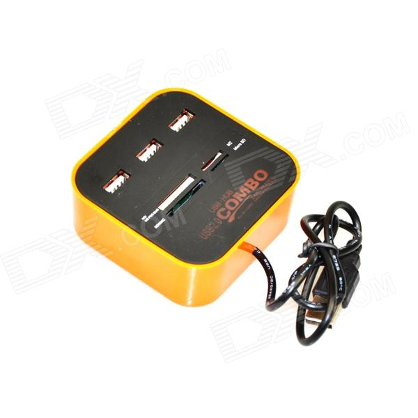 3-Port USB 2.0 Hub + MS/MS PRO DUO / SD / MMC / M2 / Micro SD Card Reader - Black + Orange кардиган elie tahari черный