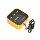 3-Port USB 2.0 Hub + MS/MS PRO DUO / SD / MMC / M2 / Micro SD Card Reader - Black + Orange