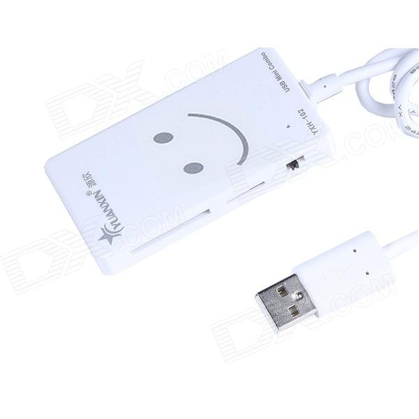 YXH-102 COMBO USB 2.0 3-Port Hub +  TF / SD Card Reader - White  (55cm-Cable / Max. 1TB)