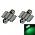 Festoon 31mm 1.6W 130lm 16 x SMD 1210 LED Green Light Car Reading / Roof / Dome Lamp  (12V/ 2 PCS)